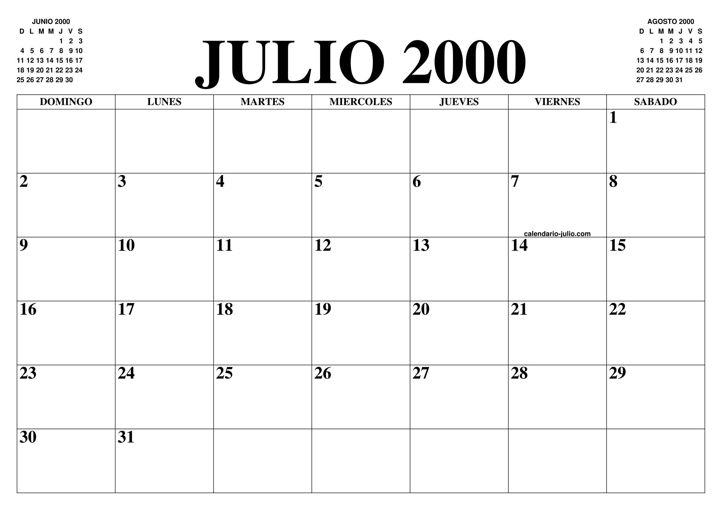 Calendario Julio Del 2000.Calendario Julio 2000 El Calendario Julio Para Imprimir
