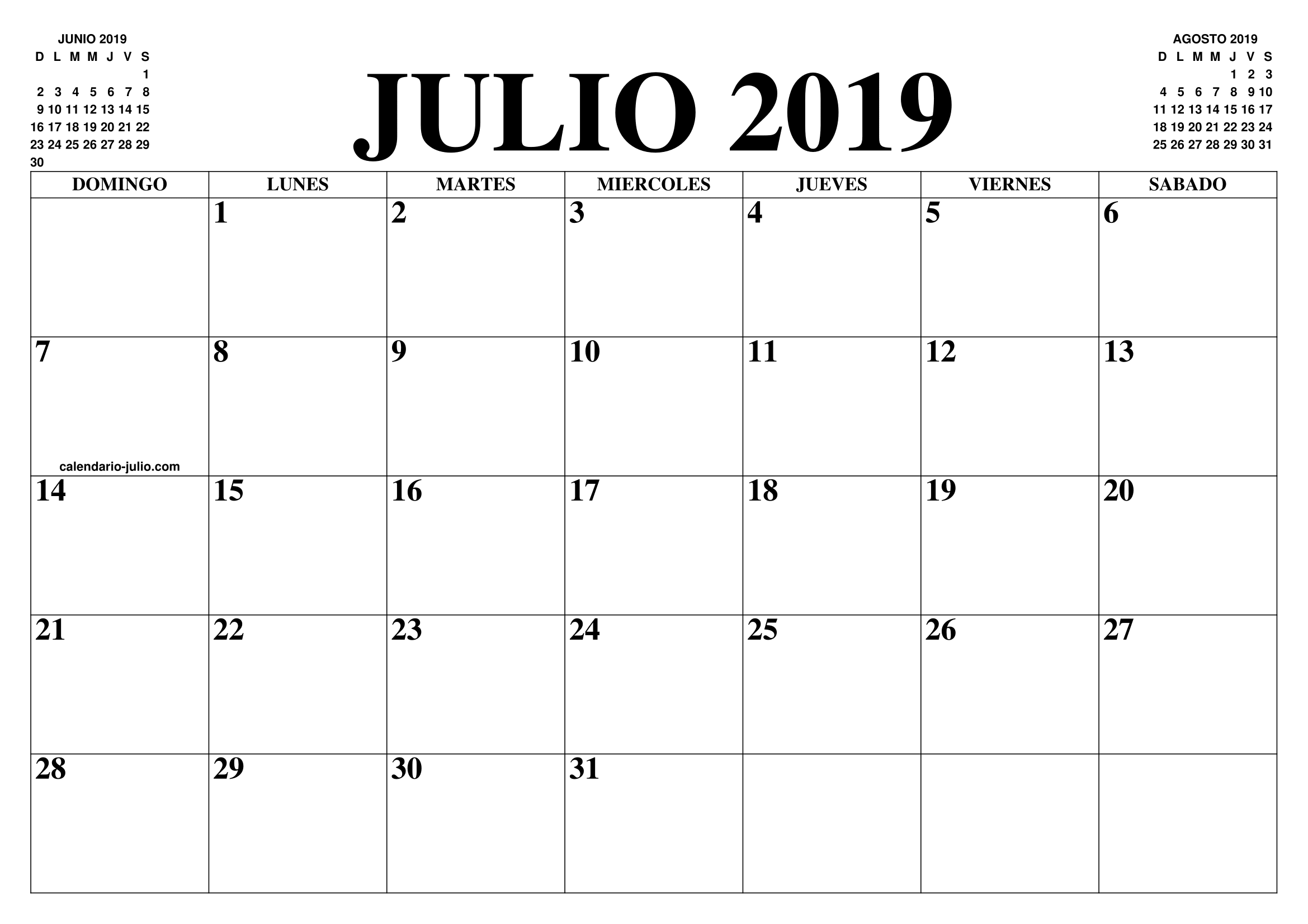Calendario Julio 2020 Para Imprimir.Calendario Julio 2019 2020 El Calendario Julio 2019 2020 Para