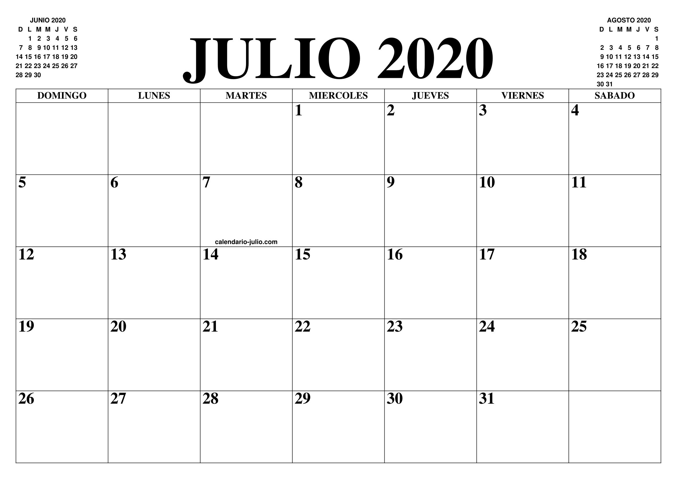 Calendario De Agosto 2020.Calendario Julio 2020 El Calendario Julio Para Imprimir Gratis