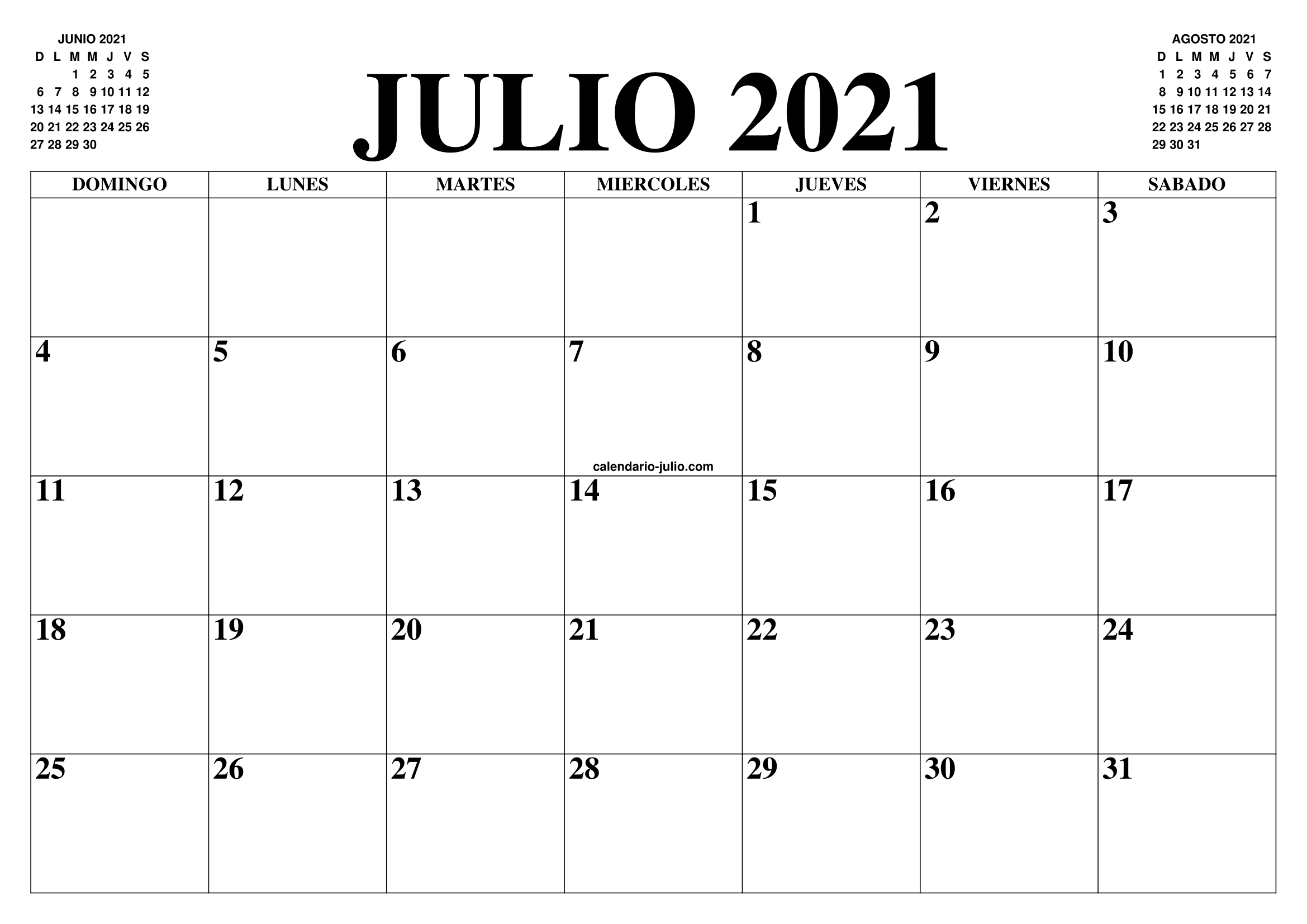 CALENDARIO JULIO 2021 : EL CALENDARIO JULIO PARA IMPRIMIR GRATIS